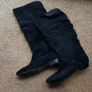 Black Leather Suede Knee High Boots